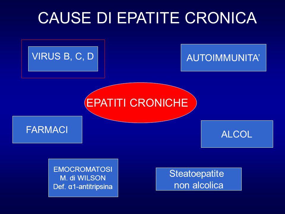 EPATITI CRONICHE VIRUS B, C, D AUTOIMMUNITA' EMOCROMATOSI M. di WILSON Def. α1-antitripsina FARMACI ALCOL Steatoepatite non alcolica CAUSE DI EPATITE