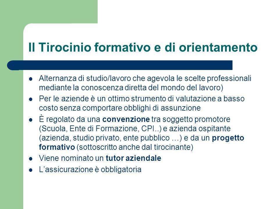 Il Tirocinio formativo e di orientamento Alternanza di studio/lavoro che agevola le scelte professionali mediante la conoscenza diretta del mondo del