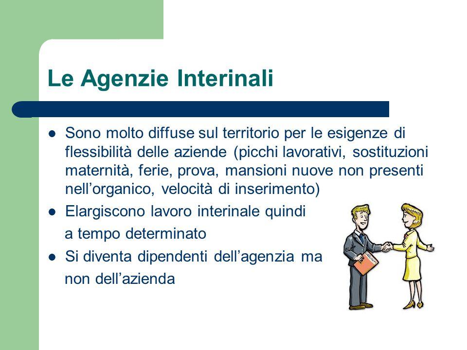 Le Agenzie Interinali Sono molto diffuse sul territorio per le esigenze di flessibilità delle aziende (picchi lavorativi, sostituzioni maternità, feri