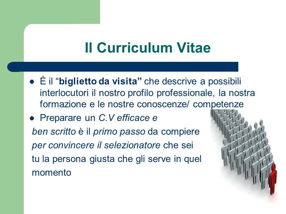 """Il Curriculum Vitae È il """"biglietto da visita"""" che descrive a possibili interlocutori il nostro profilo professionale, la nostra formazione e le nostr"""