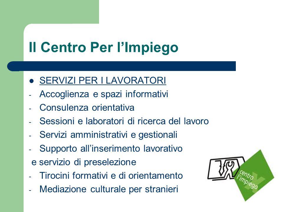 Il Centro Per l'Impiego SERVIZI PER I LAVORATORI - Accoglienza e spazi informativi - Consulenza orientativa - Sessioni e laboratori di ricerca del lav