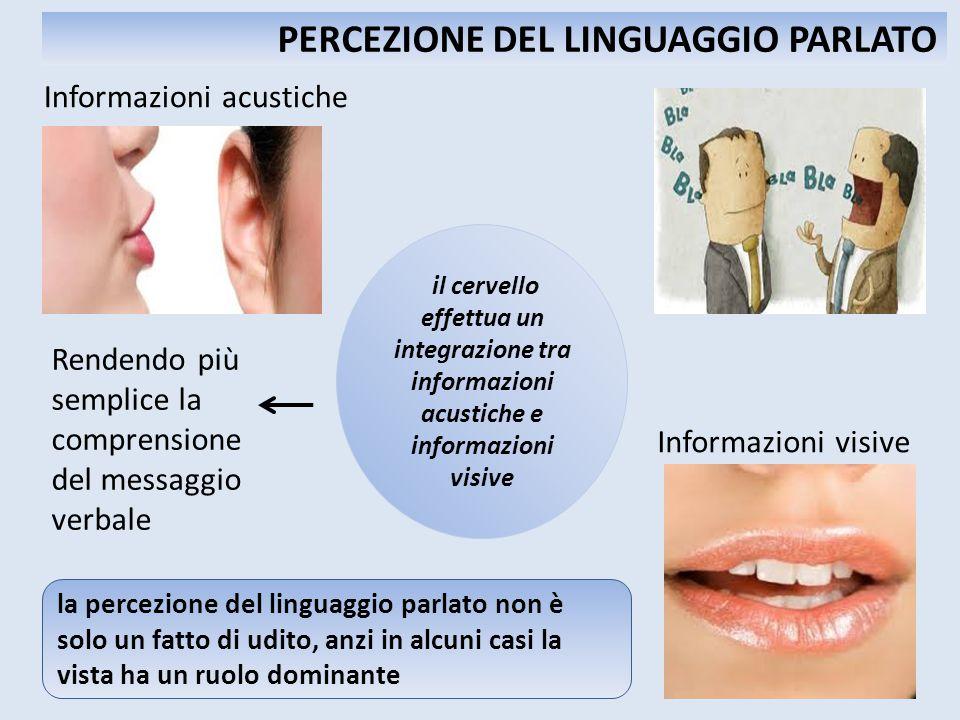 Informazioni acustiche Informazioni visive Rendendo più semplice la comprensione del messaggio verbale PERCEZIONE DEL LINGUAGGIO PARLATO il cervello e