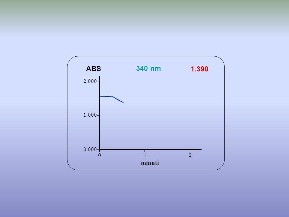 1.390 minuti ABS 340 nm 0.000 1.000 2.000 1 2 0             