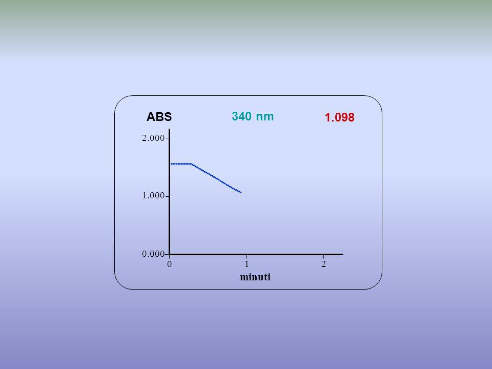 1.098 minuti ABS 340 nm 0.000 1.000 2.000 1 2 0                                 