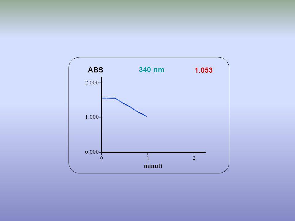 1.053 minuti ABS 340 nm 0.000 1.000 2.000 1 2 0                                   