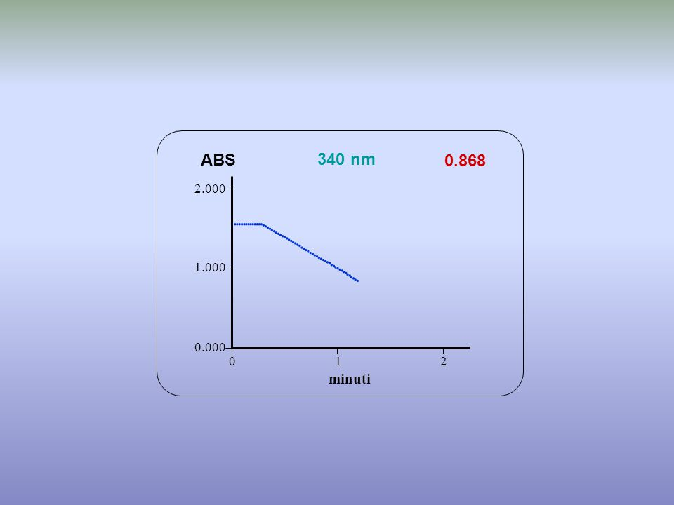 0.868 minuti ABS 340 nm 0.000 1.000 2.000 1 2 0                                             