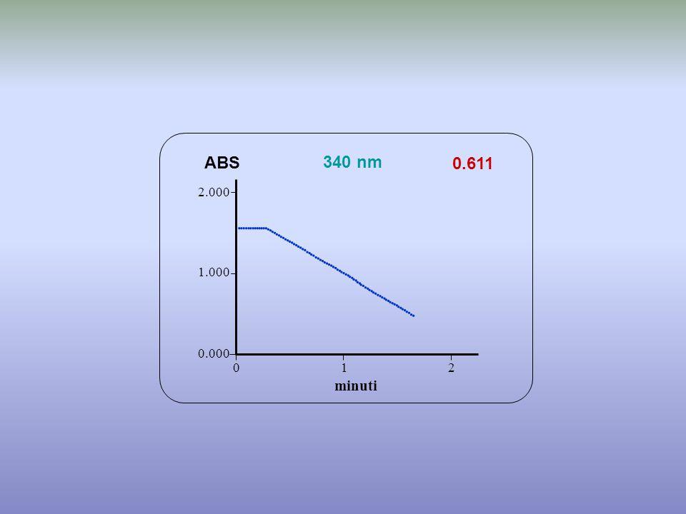 0.611 minuti ABS 340 nm 0.000 1.000 2.000 1 2 0                                                                       