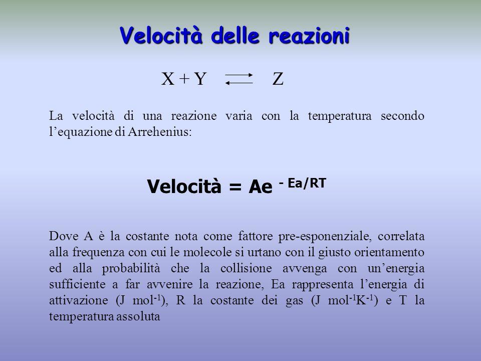 Velocità delle reazioni La velocità di una reazione varia con la temperatura secondo l'equazione di Arrehenius: Velocità = Ae - Ea/RT Dove A è la costante nota come fattore pre-esponenziale, correlata alla frequenza con cui le molecole si urtano con il giusto orientamento ed alla probabilità che la collisione avvenga con un'energia sufficiente a far avvenire la reazione, Ea rappresenta l'energia di attivazione (J mol -1 ), R la costante dei gas (J mol -1 K -1 ) e T la temperatura assoluta X + Y Z