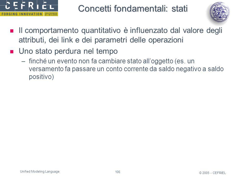 106 © 2005 - CEFRIEL Unified Modeling Language Concetti fondamentali: stati Il comportamento quantitativo è influenzato dal valore degli attributi, de