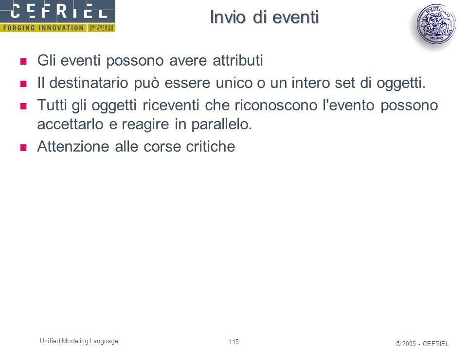 115 © 2005 - CEFRIEL Unified Modeling Language Invio di eventi Gli eventi possono avere attributi Il destinatario può essere unico o un intero set di