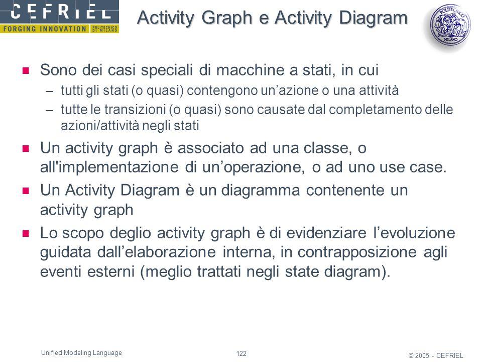 122 © 2005 - CEFRIEL Unified Modeling Language Activity Graph e Activity Diagram Sono dei casi speciali di macchine a stati, in cui –tutti gli stati (