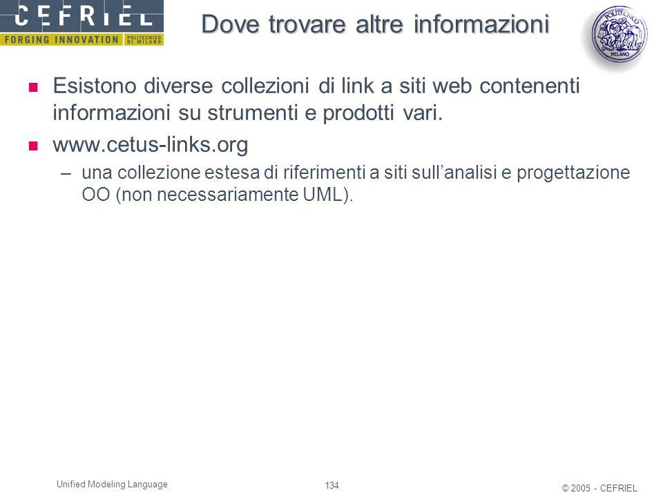 134 © 2005 - CEFRIEL Unified Modeling Language Dove trovare altre informazioni Esistono diverse collezioni di link a siti web contenenti informazioni