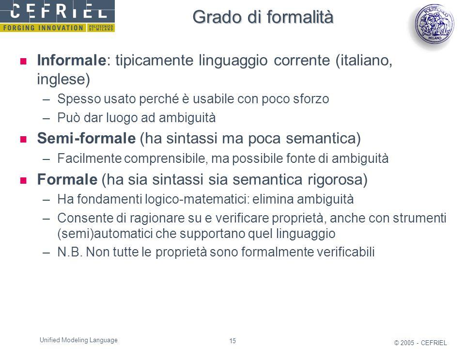 15 © 2005 - CEFRIEL Unified Modeling Language Grado di formalità Informale: tipicamente linguaggio corrente (italiano, inglese) –Spesso usato perché è