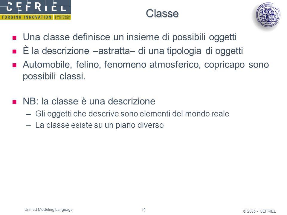 19 © 2005 - CEFRIEL Unified Modeling Language Classe Una classe definisce un insieme di possibili oggetti È la descrizione –astratta– di una tipologia