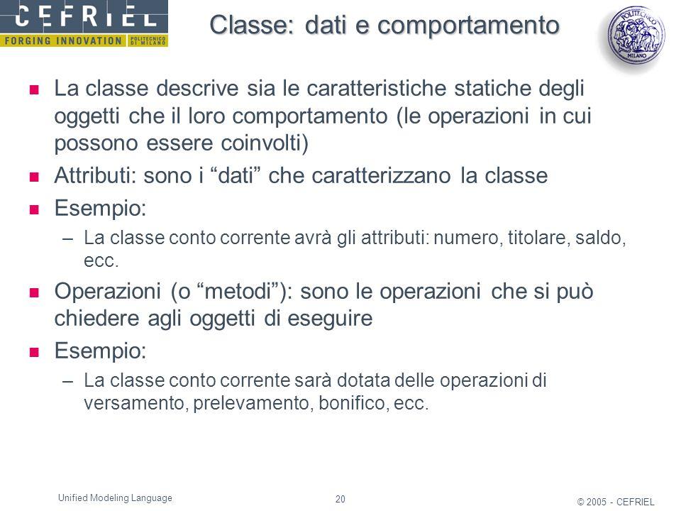 20 © 2005 - CEFRIEL Unified Modeling Language Classe: dati e comportamento La classe descrive sia le caratteristiche statiche degli oggetti che il lor