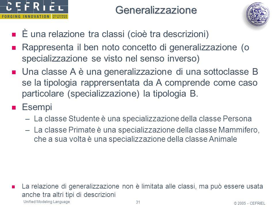 31 © 2005 - CEFRIEL Unified Modeling Language Generalizzazione È una relazione tra classi (cioè tra descrizioni) Rappresenta il ben noto concetto di g