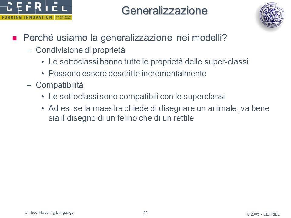 33 © 2005 - CEFRIEL Unified Modeling Language Generalizzazione Perché usiamo la generalizzazione nei modelli? –Condivisione di proprietà Le sottoclass