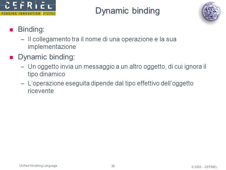 38 © 2005 - CEFRIEL Unified Modeling Language Dynamic binding Binding: –Il collegamento tra il nome di una operazione e la sua implementazione Dynamic