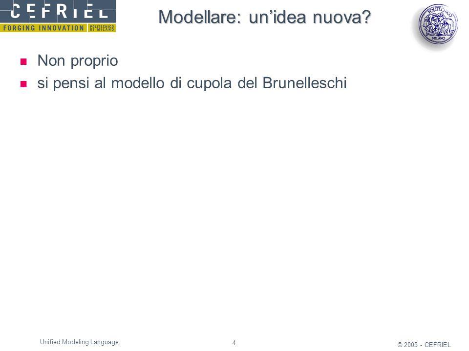 4 © 2005 - CEFRIEL Unified Modeling Language Modellare: un'idea nuova? Non proprio si pensi al modello di cupola del Brunelleschi