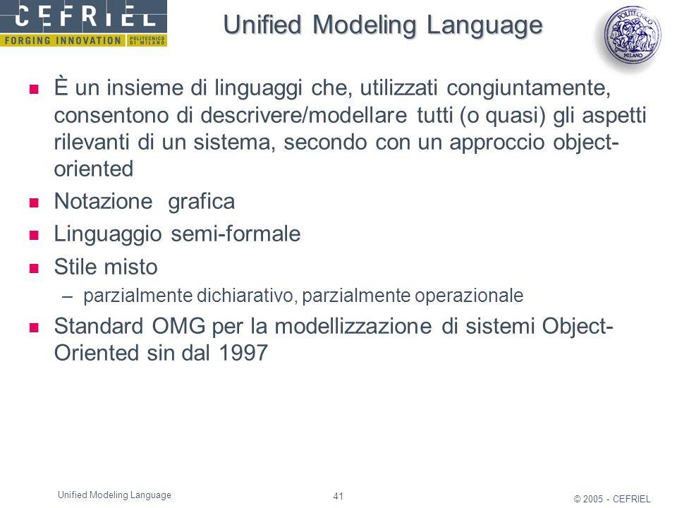 41 © 2005 - CEFRIEL Unified Modeling Language È un insieme di linguaggi che, utilizzati congiuntamente, consentono di descrivere/modellare tutti (o qu