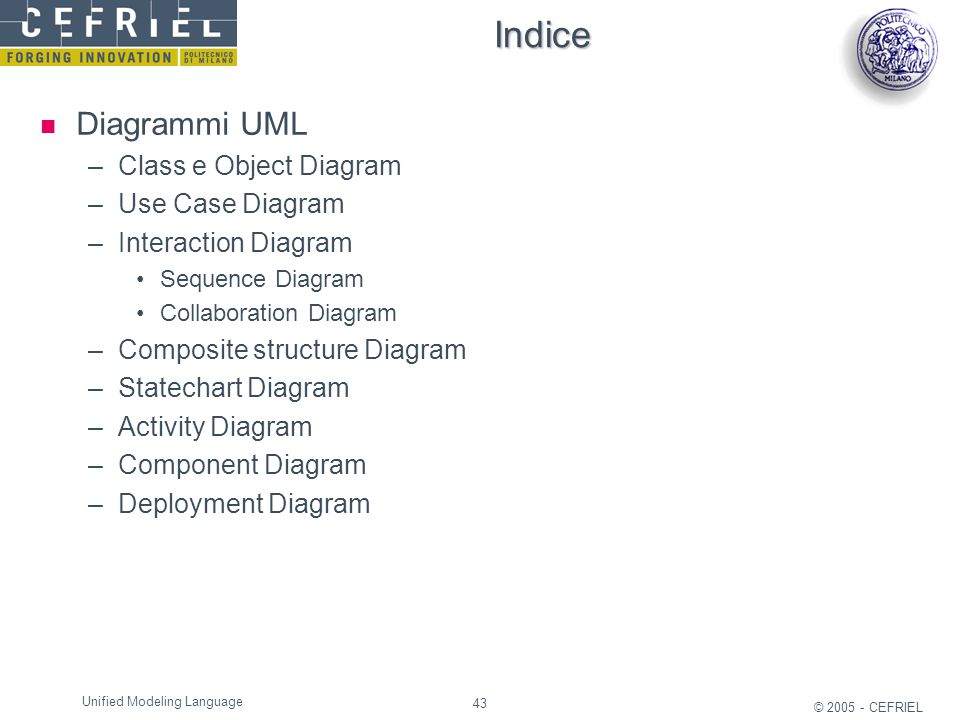 43 © 2005 - CEFRIEL Unified Modeling Language Indice Diagrammi UML –Class e Object Diagram –Use Case Diagram –Interaction Diagram Sequence Diagram Col