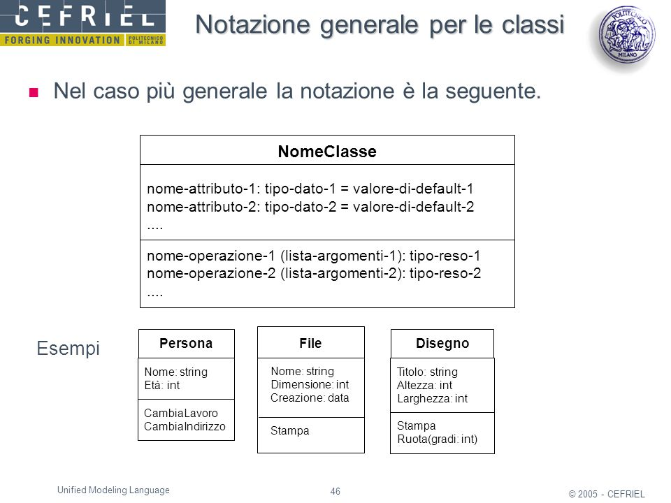 46 © 2005 - CEFRIEL Unified Modeling Language NomeClasse nome-attributo-1: tipo-dato-1 = valore-di-default-1 nome-attributo-2: tipo-dato-2 = valore-di