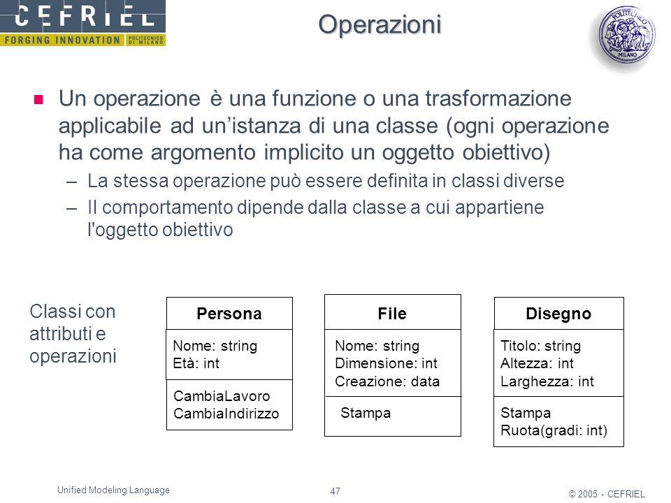47 © 2005 - CEFRIEL Unified Modeling Language Operazioni Un operazione è una funzione o una trasformazione applicabile ad un'istanza di una classe (og