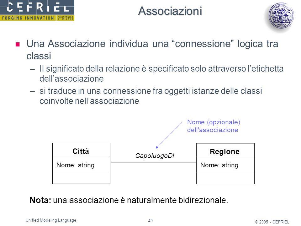 49 © 2005 - CEFRIEL Unified Modeling Language Città Nome: string CapoluogoDi Nota: una associazione è naturalmente bidirezionale. Nome (opzionale) del