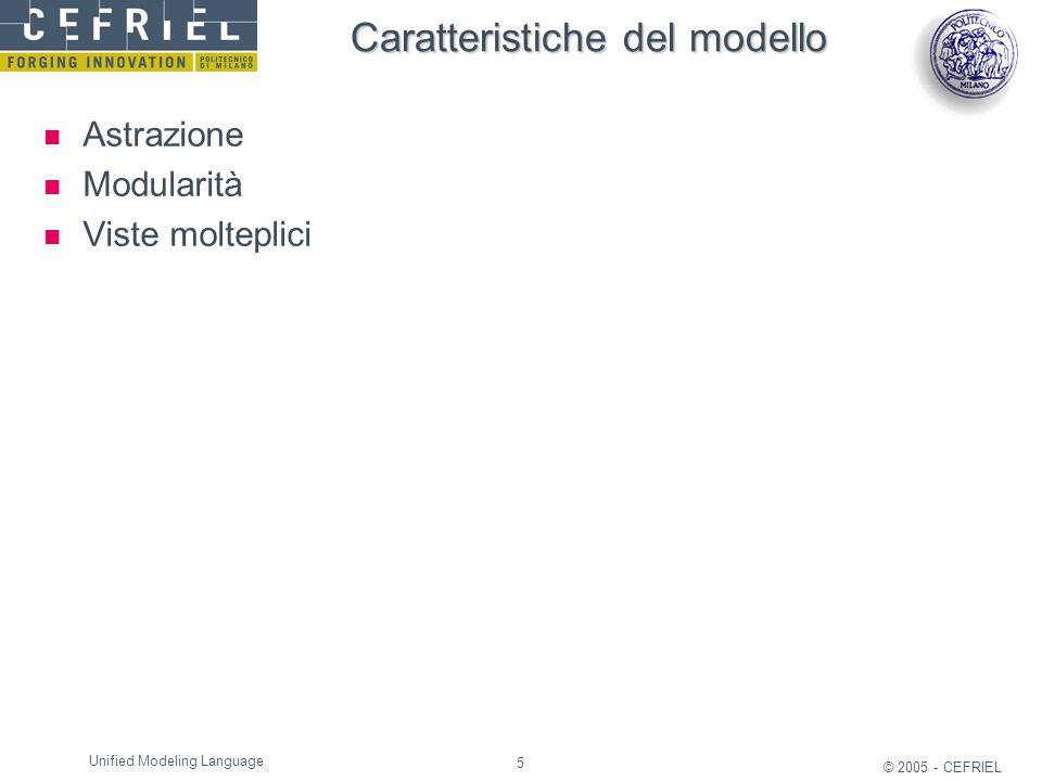 5 © 2005 - CEFRIEL Unified Modeling Language Caratteristiche del modello Astrazione Modularità Viste molteplici