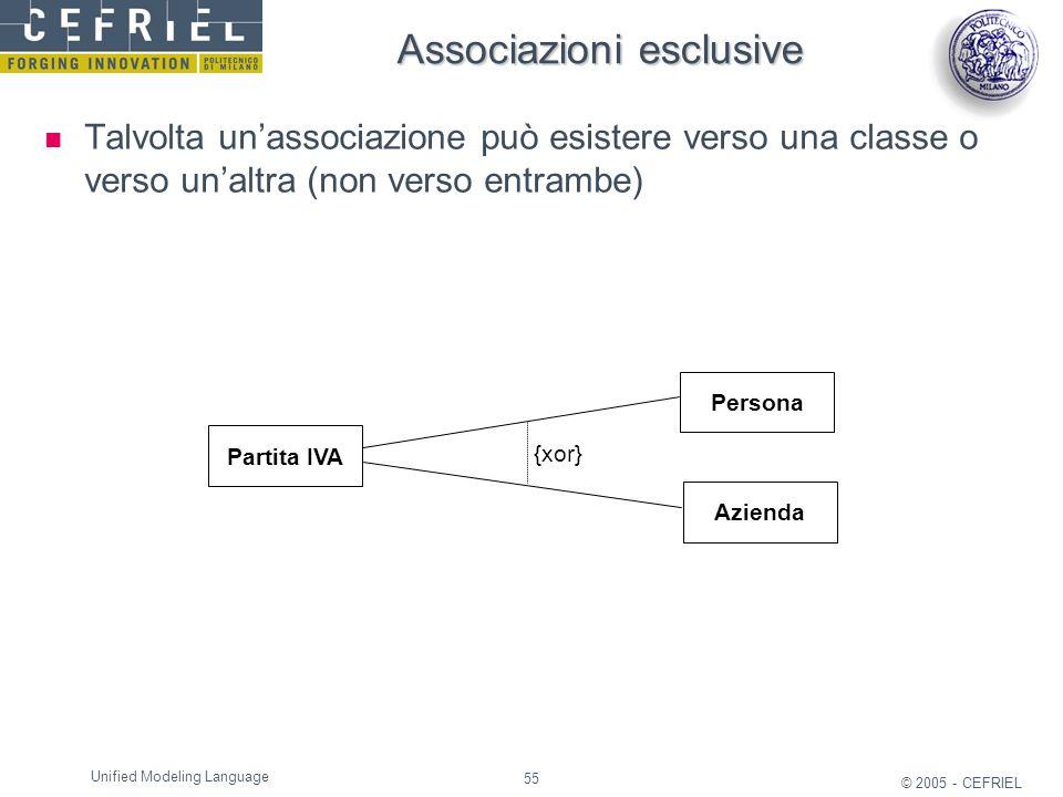 55 © 2005 - CEFRIEL Unified Modeling Language Associazioni esclusive Talvolta un'associazione può esistere verso una classe o verso un'altra (non vers
