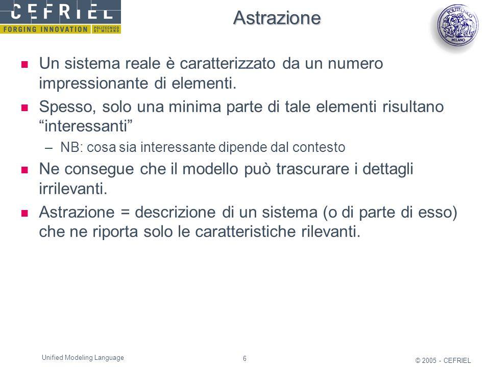 6 © 2005 - CEFRIEL Unified Modeling Language Astrazione Un sistema reale è caratterizzato da un numero impressionante di elementi. Spesso, solo una mi