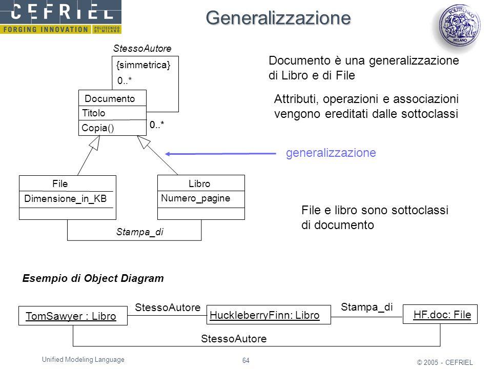64 © 2005 - CEFRIEL Unified Modeling Language generalizzazione Documento è una generalizzazione di Libro e di File File e libro sono sottoclassi di do