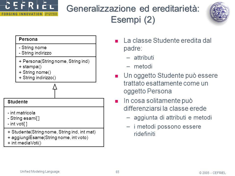 65 © 2005 - CEFRIEL Unified Modeling Language Generalizzazione ed ereditarietà: Esempi (2) La classe Studente eredita dal padre: –attributi –metodi Un