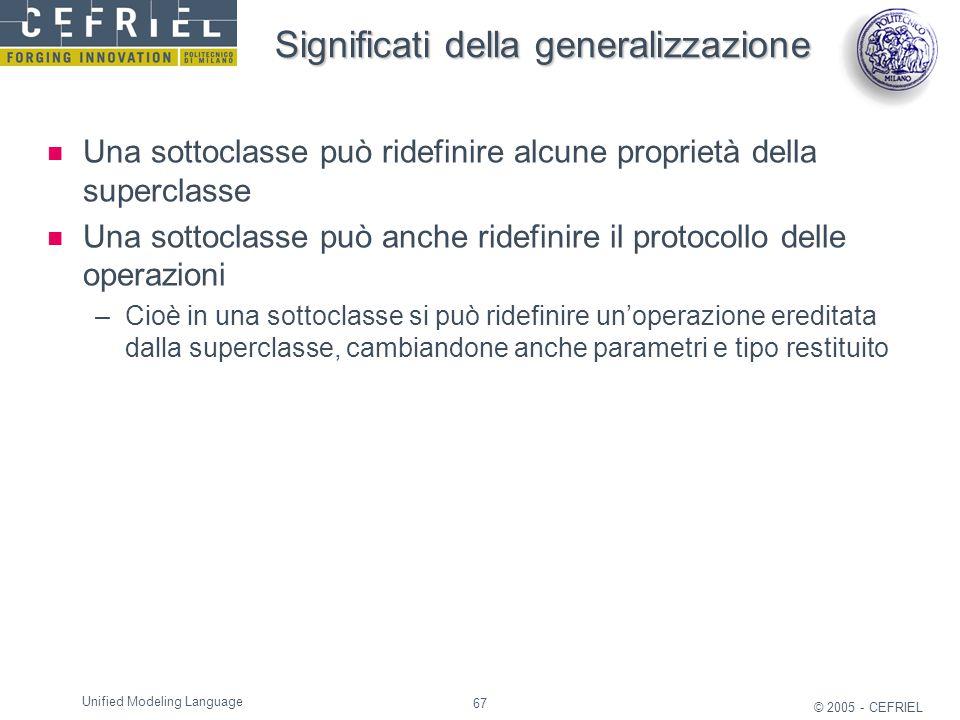 67 © 2005 - CEFRIEL Unified Modeling Language Significati della generalizzazione Una sottoclasse può ridefinire alcune proprietà della superclasse Una