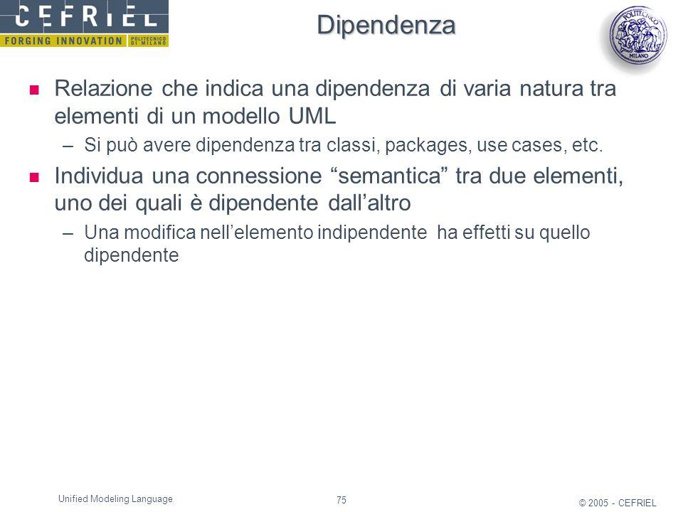 75 © 2005 - CEFRIEL Unified Modeling Language Dipendenza Relazione che indica una dipendenza di varia natura tra elementi di un modello UML –Si può av