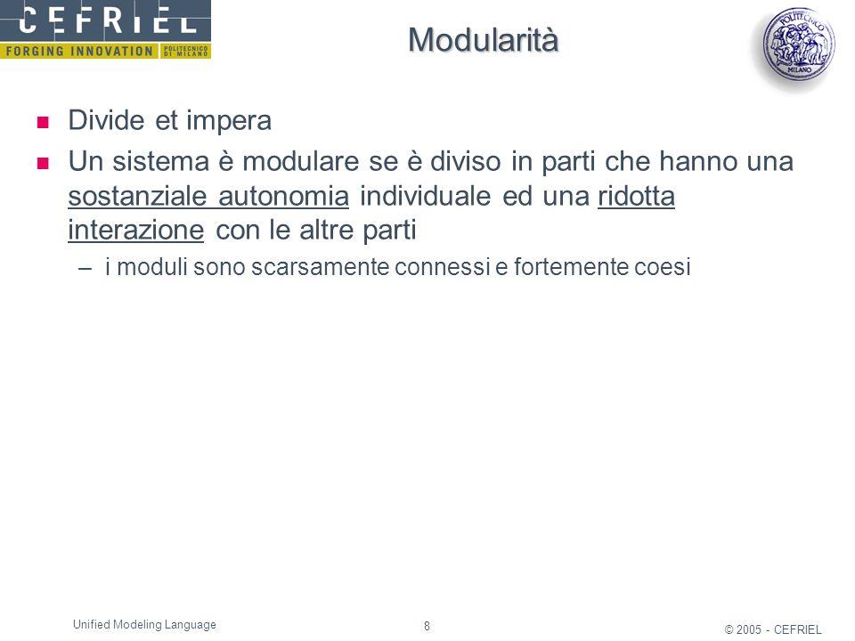 8 © 2005 - CEFRIEL Unified Modeling Language Modularità Divide et impera Un sistema è modulare se è diviso in parti che hanno una sostanziale autonomi