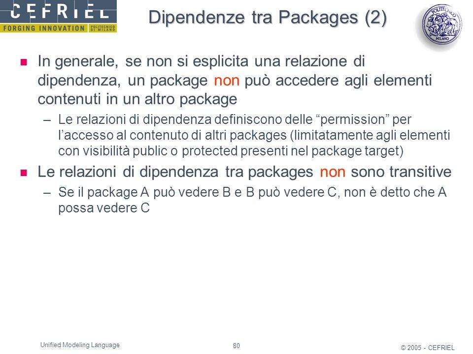 80 © 2005 - CEFRIEL Unified Modeling Language Dipendenze tra Packages (2) In generale, se non si esplicita una relazione di dipendenza, un package non