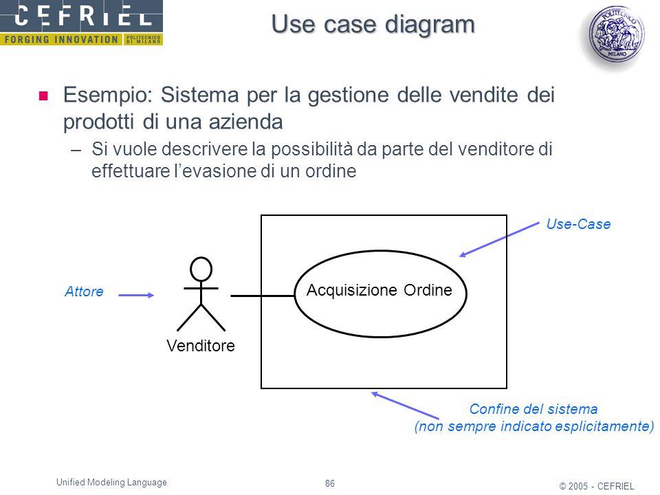 86 © 2005 - CEFRIEL Unified Modeling Language Use case diagram Esempio: Sistema per la gestione delle vendite dei prodotti di una azienda –Si vuole de