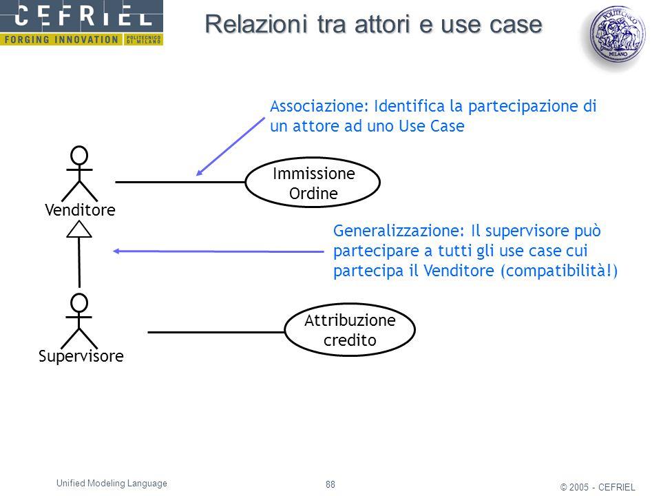 88 © 2005 - CEFRIEL Unified Modeling Language Relazioni tra attori e use case Venditore Supervisore Immissione Ordine Attribuzione credito Associazion