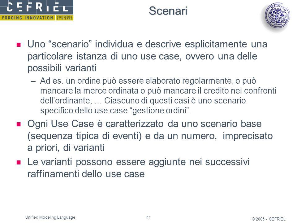 "91 © 2005 - CEFRIEL Unified Modeling Language Scenari Uno ""scenario"" individua e descrive esplicitamente una particolare istanza di uno use case, ovve"