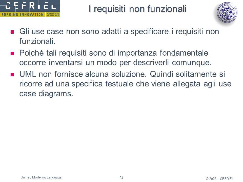 94 © 2005 - CEFRIEL Unified Modeling Language I requisiti non funzionali Gli use case non sono adatti a specificare i requisiti non funzionali. Poiché