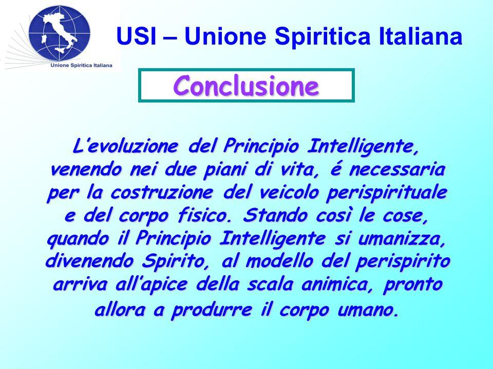 USI – Unione Spiritica Italiana Conclusione L'evoluzione del Principio Intelligente, venendo nei due piani di vita, é necessaria per la costruzione del veicolo perispirituale e del corpo fisico.