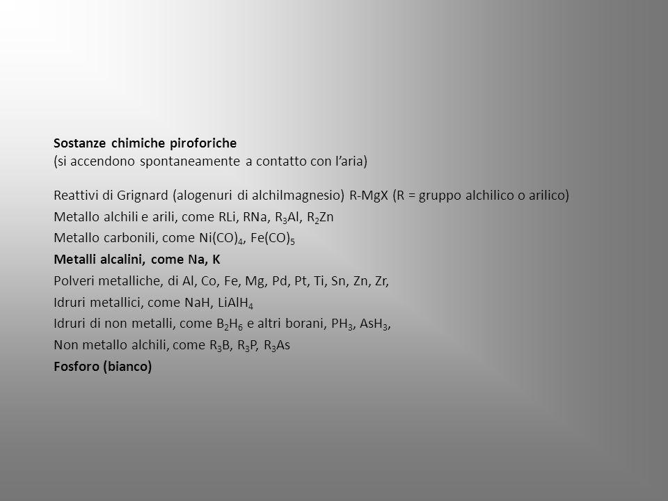 Reattivi di Grignard (alogenuri di alchilmagnesio) R-MgX (R = gruppo alchilico o arilico) Metallo alchili e arili, come RLi, RNa, R 3 Al, R 2 Zn Metallo carbonili, come Ni(CO) 4, Fe(CO) 5 Metalli alcalini, come Na, K Polveri metalliche, di Al, Co, Fe, Mg, Pd, Pt, Ti, Sn, Zn, Zr, Idruri metallici, come NaH, LiAlH 4 Idruri di non metalli, come B 2 H 6 e altri borani, PH 3, AsH 3, Non metallo alchili, come R 3 B, R 3 P, R 3 As Fosforo (bianco) Sostanze chimiche piroforiche (si accendono spontaneamente a contatto con l'aria)