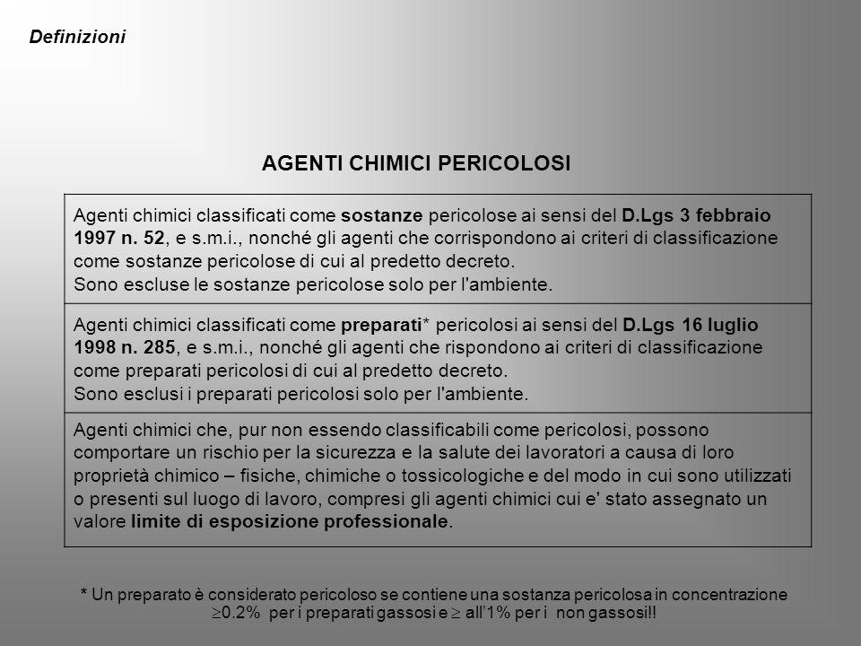 Agenti chimici classificati come sostanze pericolose ai sensi del D.Lgs 3 febbraio 1997 n. 52, e s.m.i., nonché gli agenti che corrispondono ai criter