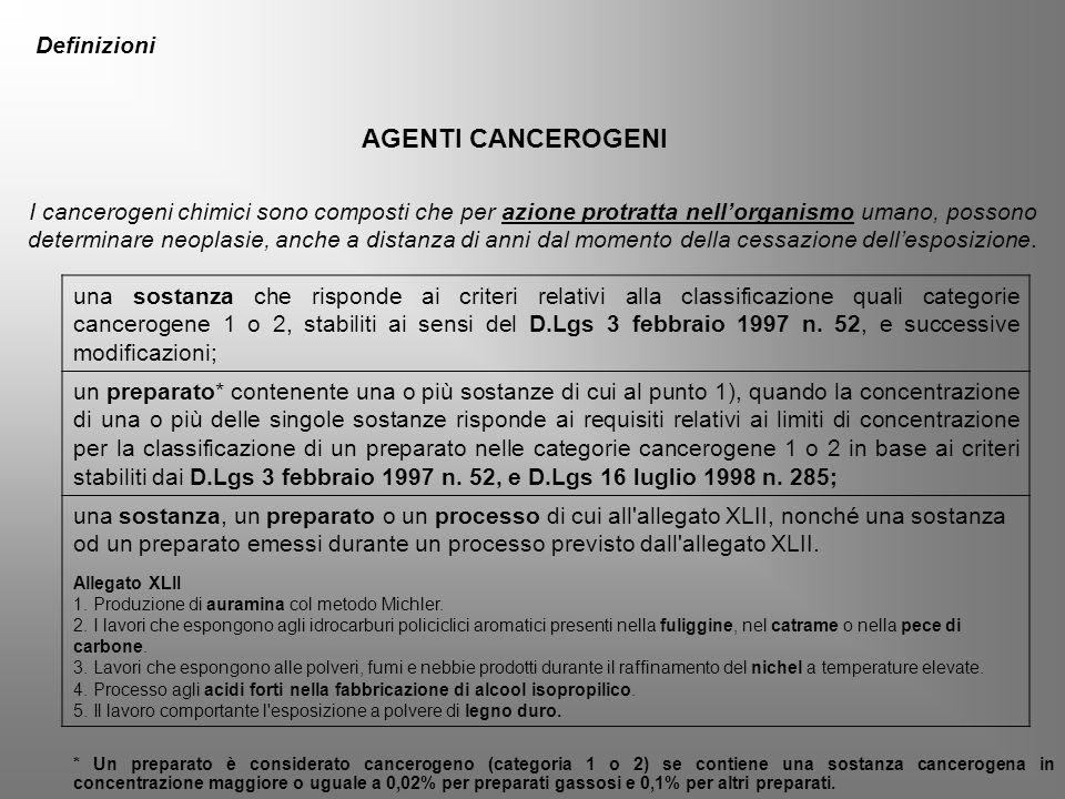 una sostanza che risponde ai criteri relativi alla classificazione quali categorie cancerogene 1 o 2, stabiliti ai sensi del D.Lgs 3 febbraio 1997 n.
