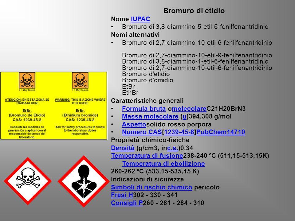 Bromuro di etidio Nome IUPACIUPAC Bromuro di 3,8-diammino-5-etil-6-fenilfenantridinio Nomi alternativi Bromuro di 2,7-diammino-10-etil-6-fenilfenantridinio Bromuro di 2,7-diammino-10-etil-9-fenilfenantridinio Bromuro di 3,8-diammino-1-etil-6-fenilfenantridinio Bromuro di 2,7-diammino-10-etil-6-fenilfenantridinio Bromuro d etidio Bromuro d omidio EtBr EthBr Caratteristiche generali Formula bruta omolecolareC21H20BrN3Formula brutamolecolare Massa molecolare (u)394,308 g/molMassa molecolareu Aspettosolido rosso porporaAspetto Numero CAS[1239-45-8]PubChem14710Numero CAS1239-45-8PubChem14710 Proprietà chimico-fisiche DensitàDensità (g/cm3, inc.s.)0,34c.s.