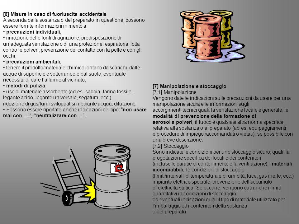 [6] Misure in caso di fuoriuscita accidentale A seconda della sostanza o del preparato in questione, possono essere fornite informazioni in merito a: