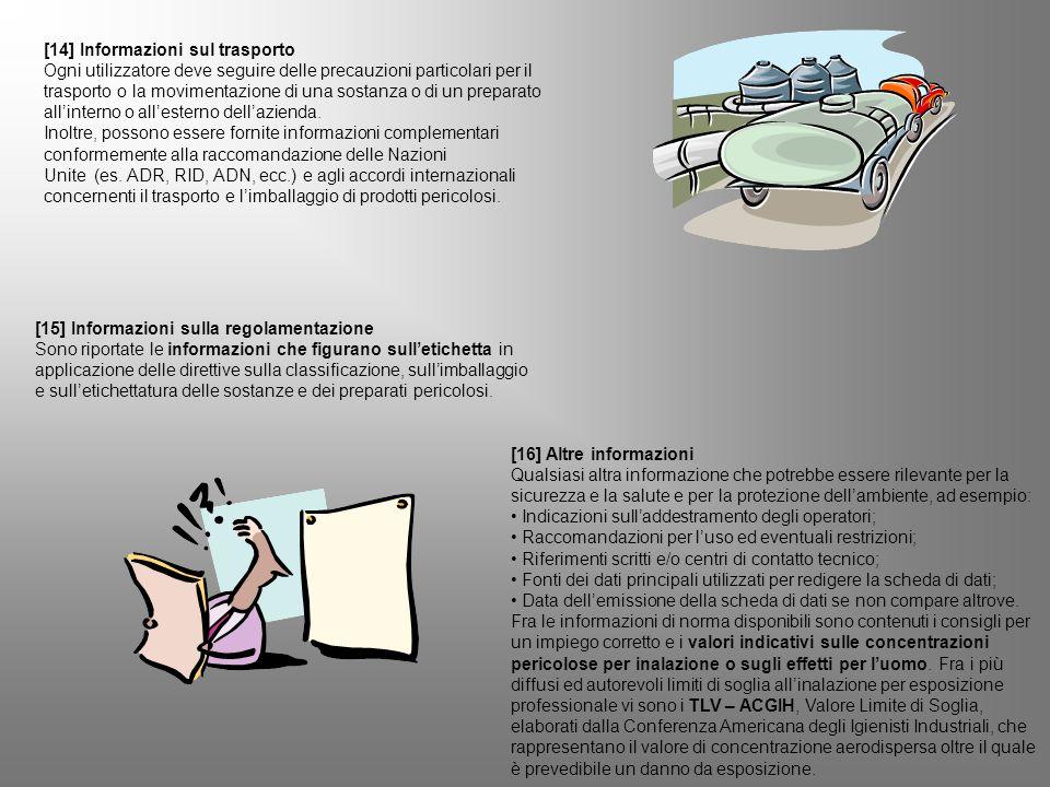 [14] Informazioni sul trasporto Ogni utilizzatore deve seguire delle precauzioni particolari per il trasporto o la movimentazione di una sostanza o di