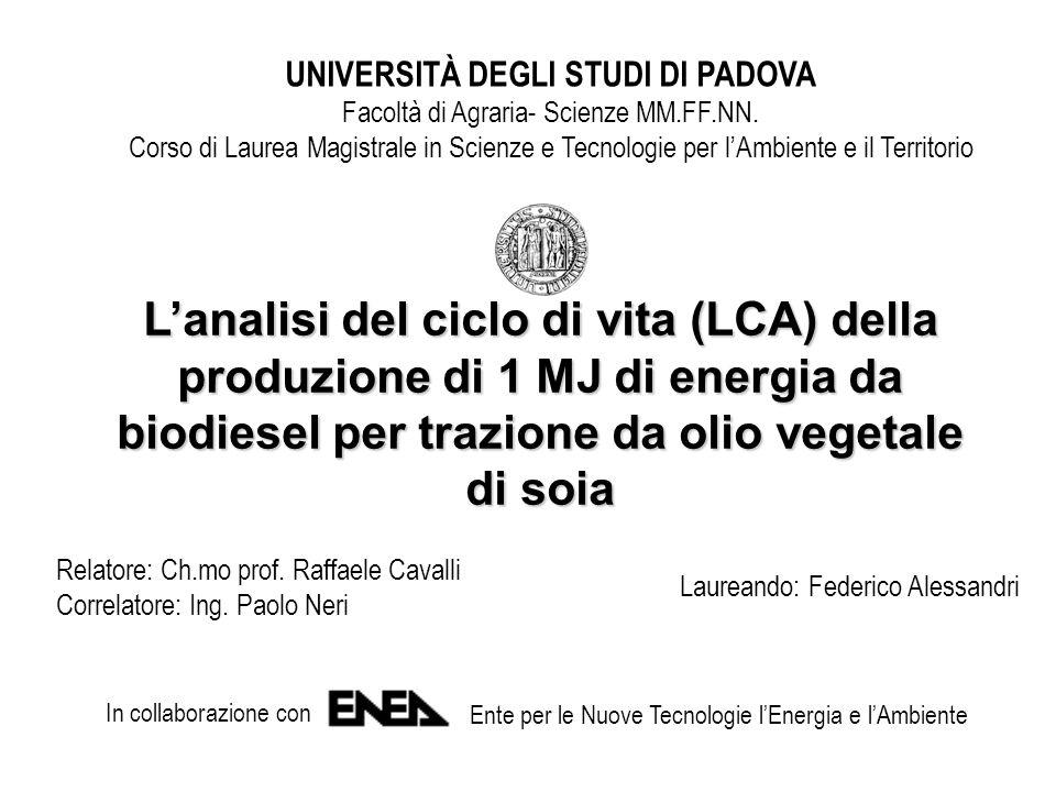Obiettivo dello studio Valutazione impatto ambientale impatto ambientale convenienza energetica convenienza energetica costo economico esterno costo economico esterno della produzione di 1 MJ di energia da biodiesel per trazione da olio vegetale di soia con il metodo LCA - Life Cycle Assessment (norma europea UNI EN ISO 14040)