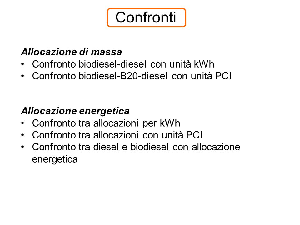 Confronti Allocazione di massa Confronto biodiesel-diesel con unità kWh Confronto biodiesel-B20-diesel con unità PCI Allocazione energetica Confronto